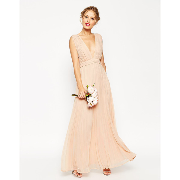 ASOS WEDDING Deep Plunge Super Full Pleated Maxi Dress - Evening dress by ASOS Collection, Lightweight lined...