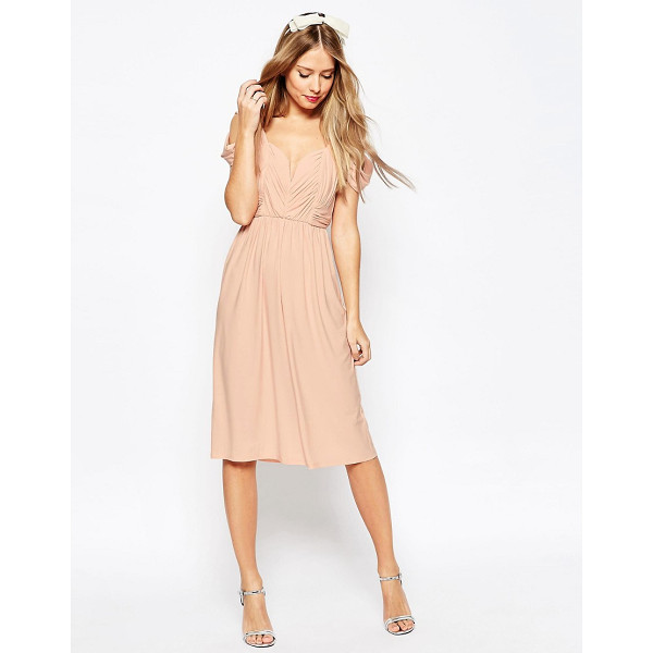 """ASOS WEDDING Drape Cold Shoulder Midi Dress - """"""""Midi dress by ASOS Collection, Soft-touch slinky fabric,..."""
