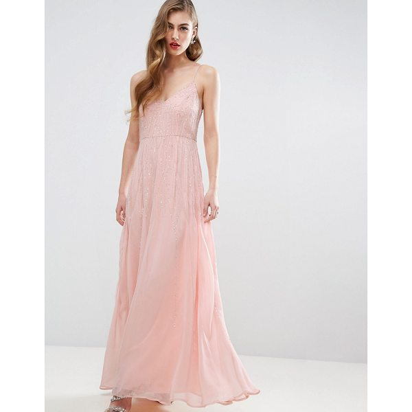 """ASOS DESIGN Bridesmaid embellished cami strappy midi dress - """"""""Maxi dress by ASOS Collection, Mid-weight chiffon,..."""