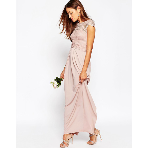 ASOS WEDDING Lace Top Pleated Maxi Dress - Maxi dress by ASOS Collection, Lightweight smooth stretch...