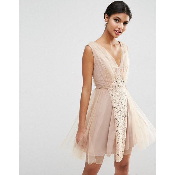 "ASOS WEDDING Mesh and Lace Insert Mini Prom Dress - """"Dress by ASOS Collection, Sheer lined mesh, Lightweight..."