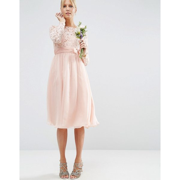 """ASOS DESIGN Bridesmaid midi dress with lace and bow detail - """"""""Midi dress by ASOS Collection, Lined woven fabric, Lace..."""