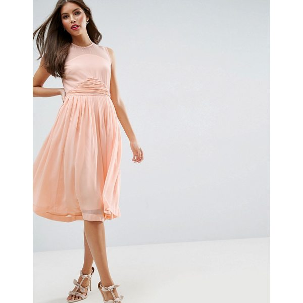 """ASOS DESIGN Bridesmaid midi dress with ruched panel detail - """"""""Dress by ASOS Collection, Lined chiffon, Crew neck,..."""