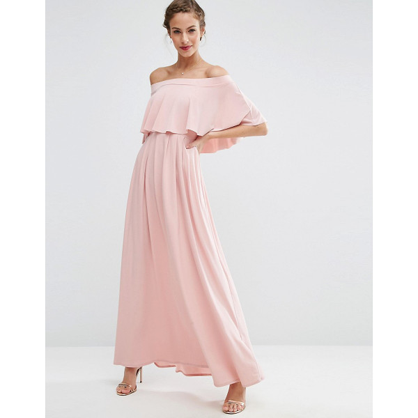 ASOS WEDDING Off Shoulder Frill Maxi Dress - Maxi dress by ASOS Collection, Stretch fabric, Bandeau...