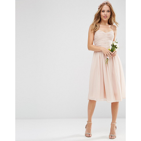 "ASOS WEDDING Rouched Midi Dress - """"Midi dress by ASOS Wedding, Layered mesh, Lined design,..."