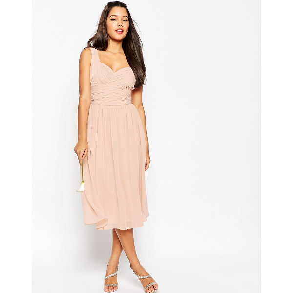 """ASOS WEDDING Ruched Panel Midi Dress - """"""""Midi dress by ASOS Collection, Lined chiffon, Sweetheart..."""