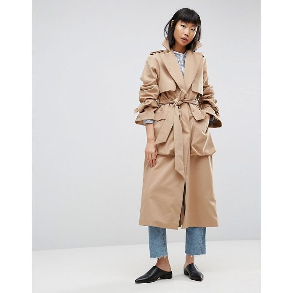 """ASOS WHITE ASOS WHITE Molded Pocket Trench - """"""""Trench by ASOS WHITE, Smooth woven fabric, Notch lapels,..."""