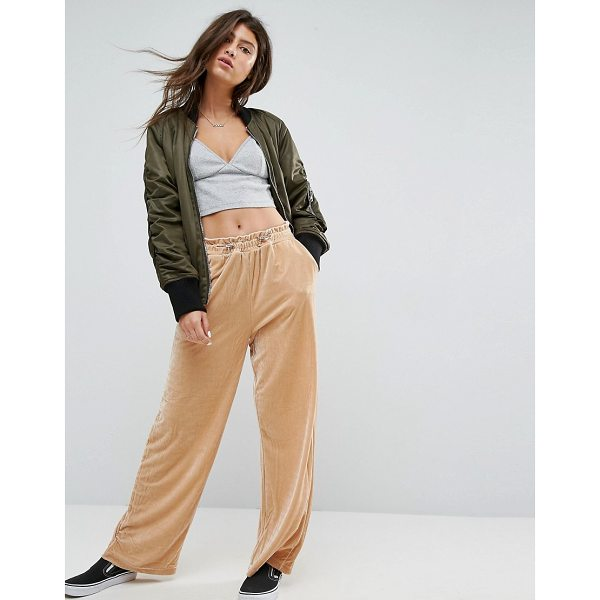 ASOS Wide Leg Velvet Joggers with Elastic Cord - Pants by ASOS Collection, Soft-touch velvet, High-rise,...