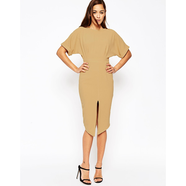 ASOS Wiggle Dress with Split Front - Dress by ASOS Collection, Lightweight crepe, Boat neck,...