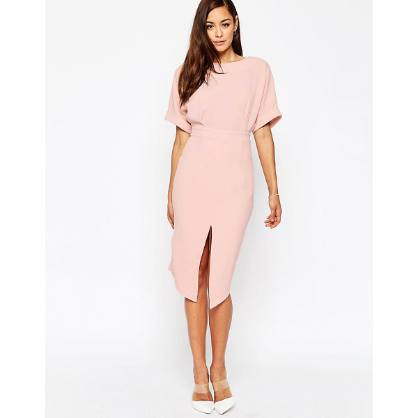 ASOS Wiggle Dress with Split Front - Midi dress by ASOS Collection, Lightweight crepe, Boat