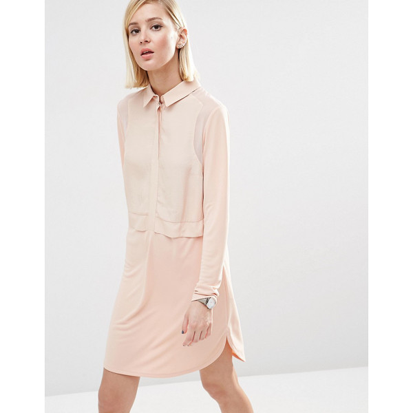 ASOS Woven Mix Shirt Dress - Dress by ASOS Collection, Lightweight fabric, Point collar,...