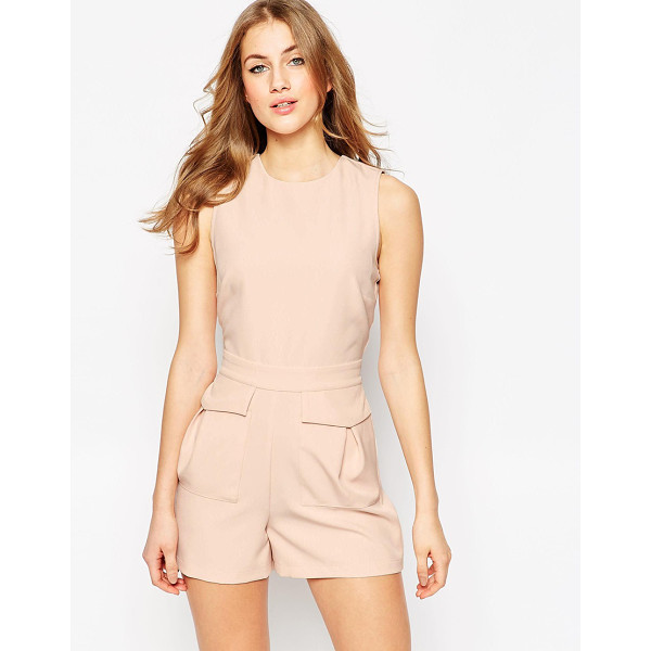 ASOS Woven Occasion Romper with Patch Pockets - Romper by ASOS Collection, Stretch woven fabric, Crew...