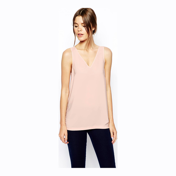 ASOS Woven v-neck tank top - Tank by ASOS Collection Made from a woven poly fabric...