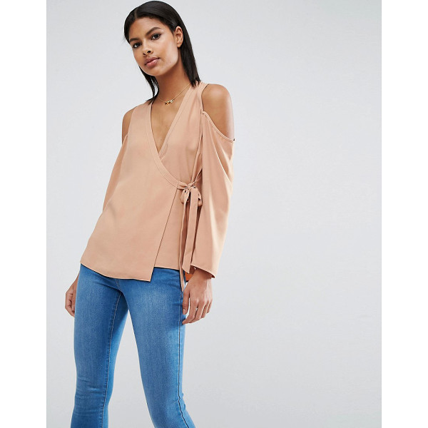 ASOS Wrap Blouse with Cold Shoulder - Top by ASOS Collection, Woven fabric, V-neckline, Cold...