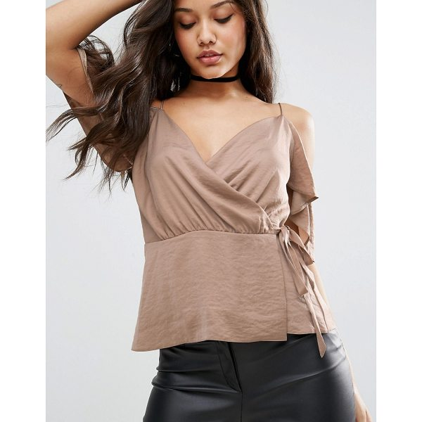 ASOS Wrap Cami With Cold Shoulder - Top by ASOS Collection, Lightweight satin fabric, V-neck,...