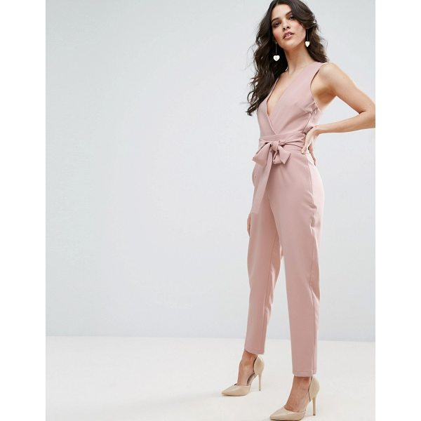 "ASOS Wrap Front Jumpsuit with Twist Back and Self Tie - """"Jumpsuit by ASOS Collection, Stretch woven fabric, Plunge..."