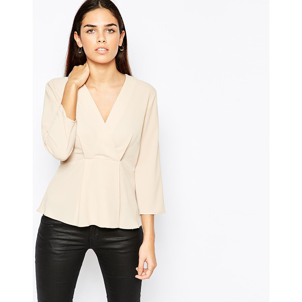 ASOS Wrap Front Minimal Blouse in Crepe - Blouse by ASOS Collection, Lightweight crepe, Unlined...