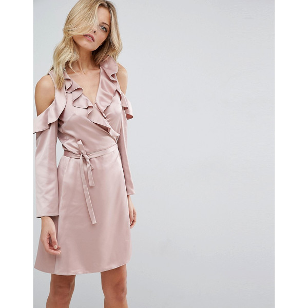 """ASOS Wrap Front Tea Dress in Satin - """"""""Dress by ASOS Collection, Smooth satin fabric, V-neck,..."""