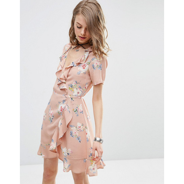 "ASOS Wrap Front Tea Dress with Frill in Pretty Floral Print - """"Dress by ASOS Collection, Lightweight woven fabric,..."