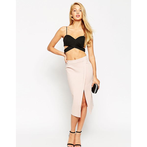 ASOS Wrap pencil skirt with raw edge - Pencil skirt by ASOS Collection, Soft-touch scuba-style...