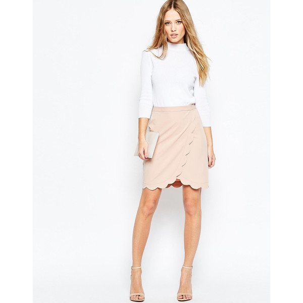 ASOS Wrap Pencil Skirt with Scallop Detail - Pencil skirt by ASOS Collection, Woven fabric, Wrap front,...