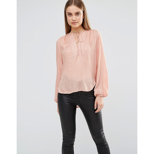 "AX PARIS Blouse With Front Panel And Tie Front - """"Top by AX Paris, Lightweight woven fabric, Round..."