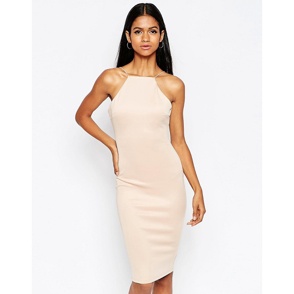 AX PARIS Body-conscious midi dress with string strap - Midi dress by AX Paris Smooth knitted fabric Square...