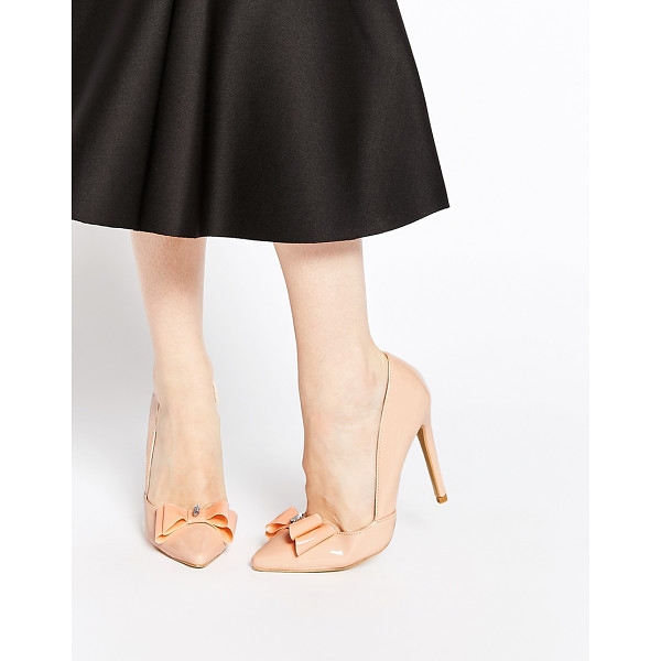 AX PARIS Nina cut out bow heeled pumps - Shoes by AX Paris High-shine leather-look upper Embellished...
