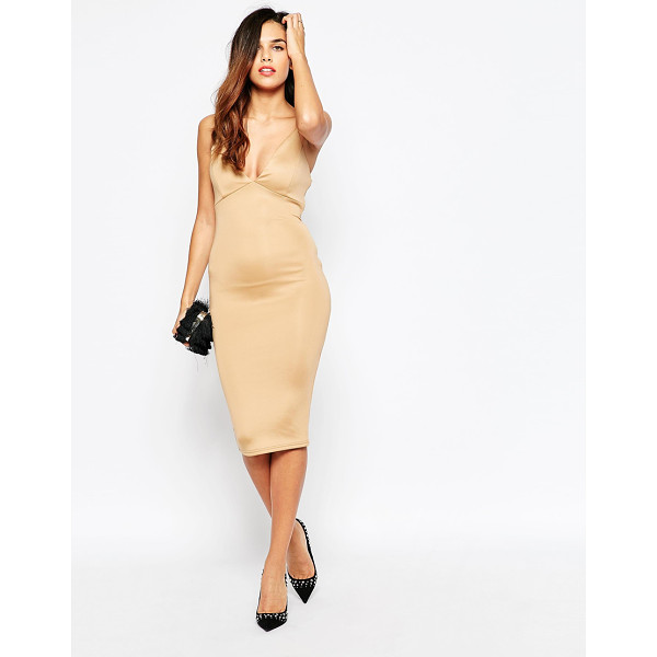 AX PARIS Plunge front midi dress with string straps - Evening dress by AX Paris Super smooth knit fabric Plunge...