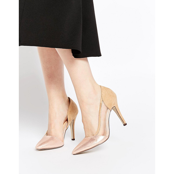 AX PARIS Rhea Metallic Heeled Pumps - Shoes by AX Paris, Contrast textile upper, Faux suede heel...