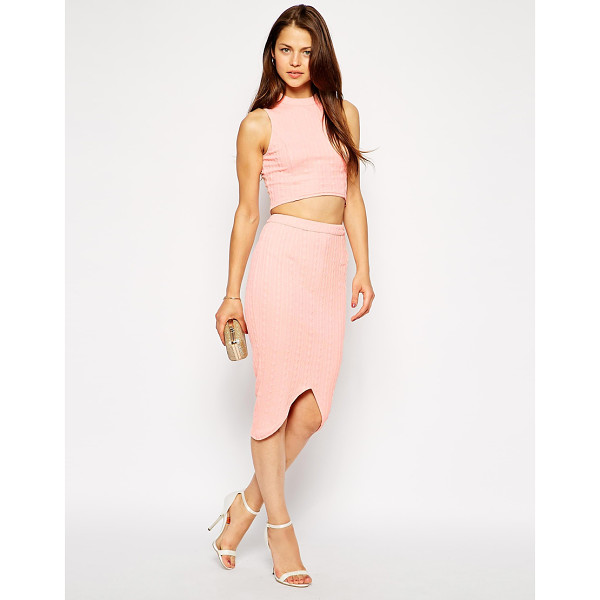 AX PARIS Textured crop top and pencil skirt with notch hem - Co-ord set by AX Paris Textured, stretch fabric Polo...