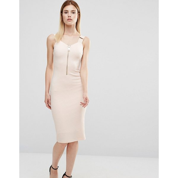 "AX PARIS Zip Front Pencil Dress - """"Dress by AX Paris, Textured stretch fabric, V-neckline,..."