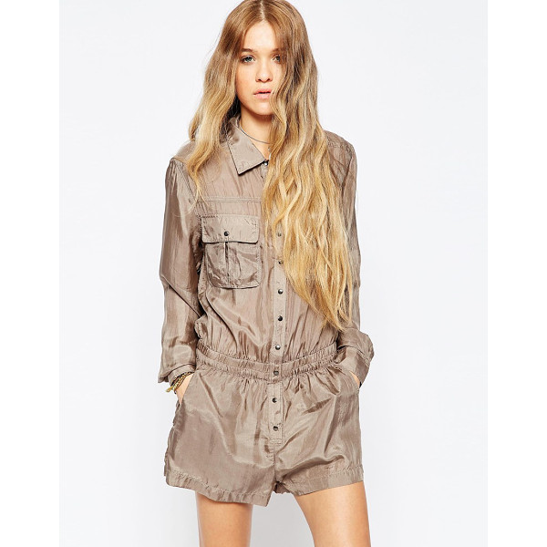BLANK NYC Taupe living dead girl utility romper - Playsuit by Blank NYC Woven silk Point collar Press-stud...