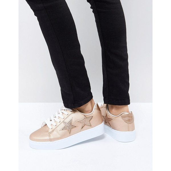 BLINK Flatform Lace Up Sneakers - Sneakers by Blink, Faux-leather upper, Textured finish,...