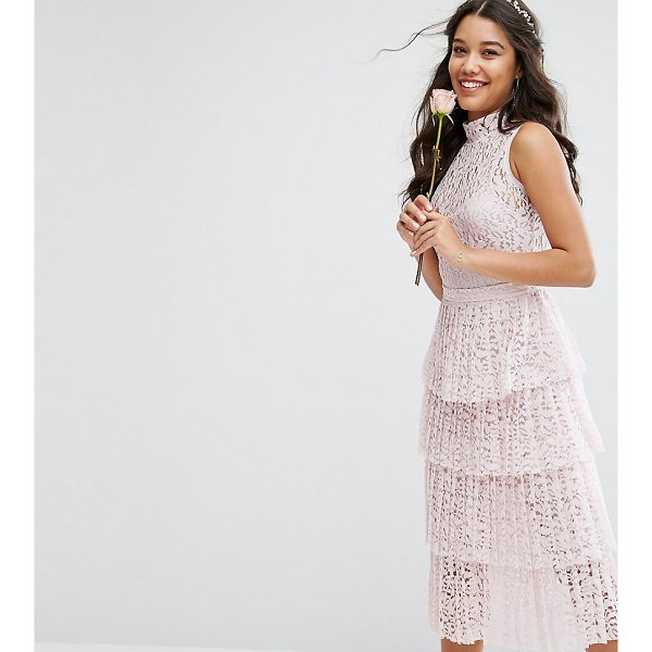 """BODY FROCK Bodyfrock Pleated Lace Midi Dress With Tiers - """"""""Dress by Body Frock, Made in Portugal, Color-matching..."""