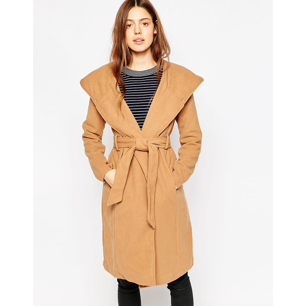 BRAVE SOUL Belted coat with oversize hood - Coat by Brave Soul Soft-touch mid-weight fabric Lightly...
