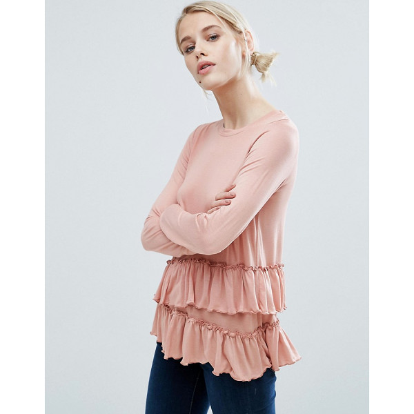 "BRAVE SOUL Frill Edge T-Shirt - """"Top by Brave Soul, Soft-touch jersey, Boat neck,..."