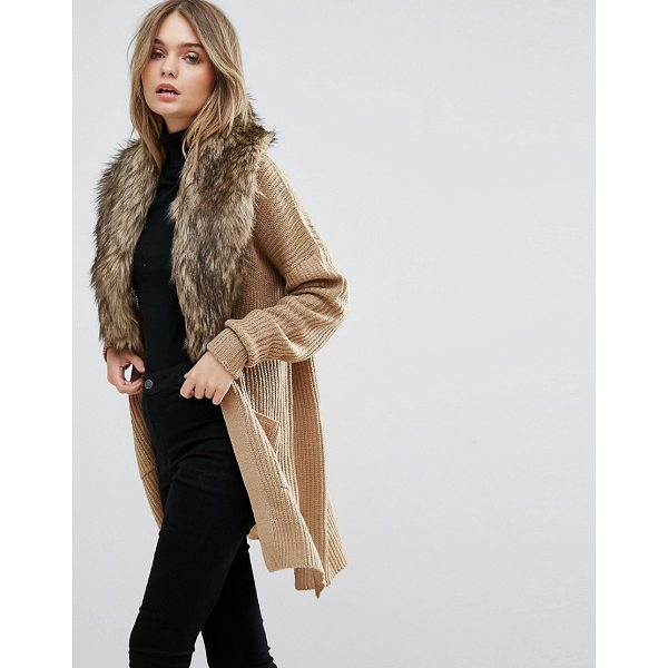 "BRAVE SOUL Hawk Cardigan With Detachable Fur Collar - """"Cardigan by Brave Soul, Chunky knit, Faux-fur collar,..."