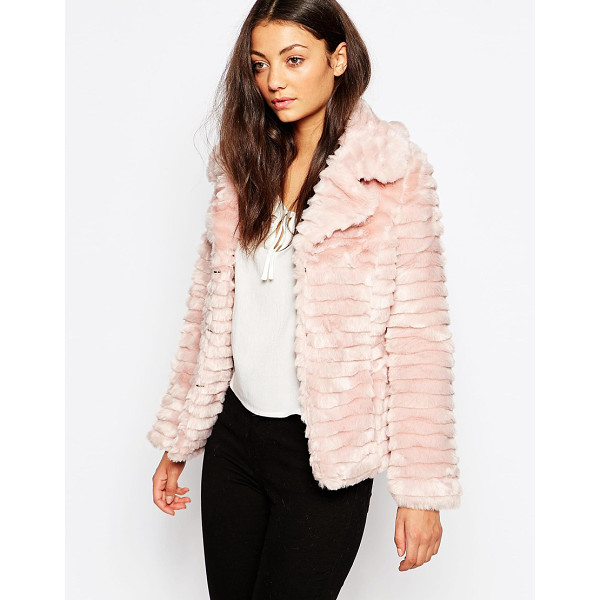 BRAVE SOUL Short faux fur jacket - Jacket by Brave Soul Ribbed faux fur Notch lapels Concealed...
