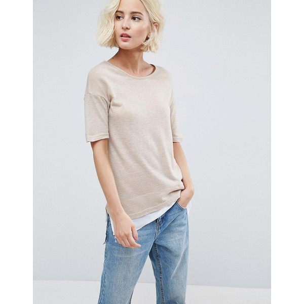 B.YOUNG Double Layer T-Shirt - Top by b.Young, Lightweight fine knit, Round neck, Dropped