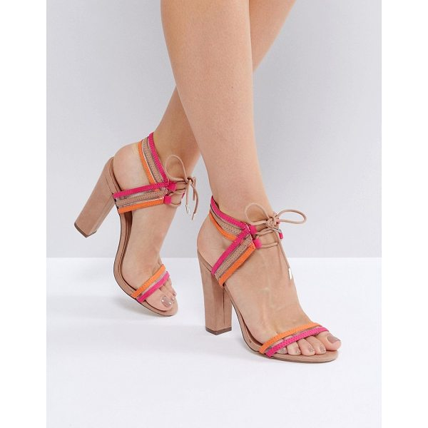 """CALL IT SPRING Call It Spring Astoressi Brown Block Heeled Sandals - """"""""Heels by Call It Spring, Textile upper, Lace-up..."""