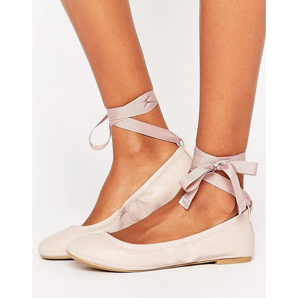 CALL IT SPRING Call It Spring Conboy Blush Ribbon Tie Ballet Flat Shoes - Flat shoes by Call It Spring, Faux-leather upper, Tie-leg...