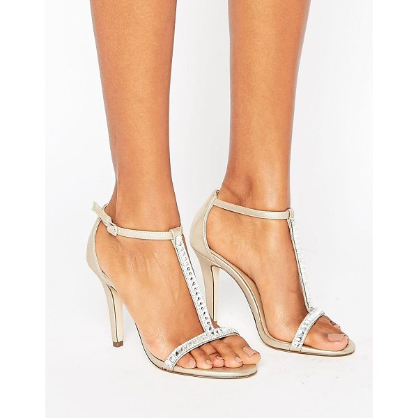 """CALL IT SPRING Call It Spring Jerirwen Embellished T Bar Heeled Sandals - """"""""Heels by Call It Spring, Faux-leather upper, Gold-tone..."""