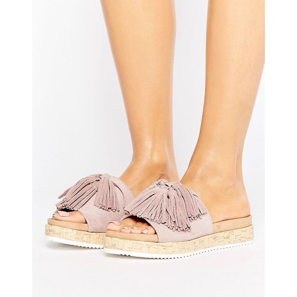 CALL IT SPRING Call It Spring Pucallpa Blush Sliders With Suede Tassels - Sandals by Call It Spring, Textile upper, Slip-on style,...