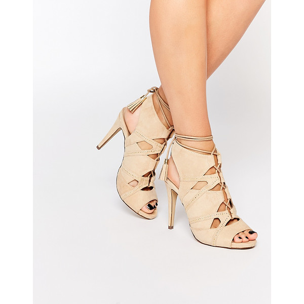 CALL IT SPRING Call It Spring Duchess Nude Tie Up Heeled Sandals - Heels by Call It Spring, Suede-style upper, Lace-up...