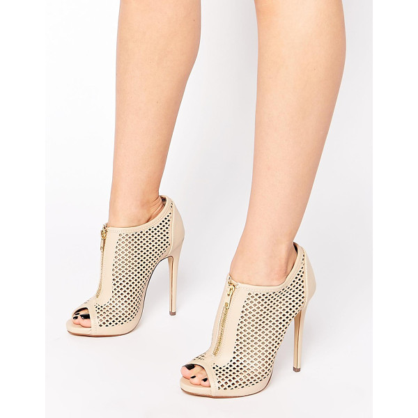 CALL IT SPRING Juillerat nude perforated heeled shoe boots - Shoes by Call It Spring, Leather look fabric, Perforated...