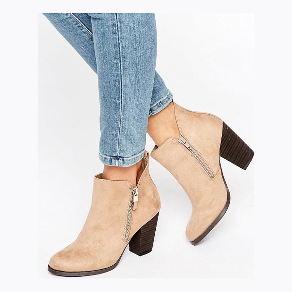 "CALL IT SPRING Call It Spring Kokes Zip Heeled Ankle Boots - """"Boots by Call It Spring, Faux-suede upper, Side zip..."