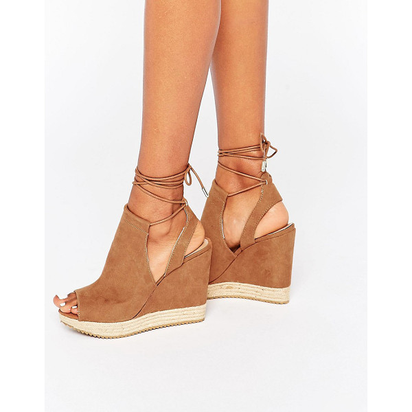 CALL IT SPRING Wirewiel wedge sandal with wrap around lace - Sandals by Call It Spring, Faux-suede upper, Peep toe,...