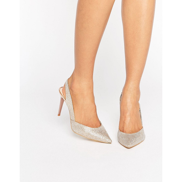 CARVELA Acorn Gold Sling Point Heeled Shoes - Heels by Carvela, Textile upper, Ankle-strap fastening,