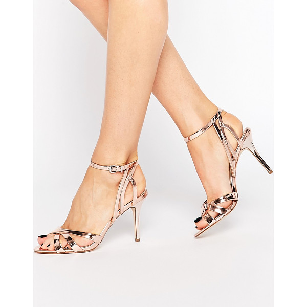 CARVELA KURT GEIGER Lyra High Heeled Sandals - Shoes by Carvela, Leather-look upper, Metallic finish, Pin...